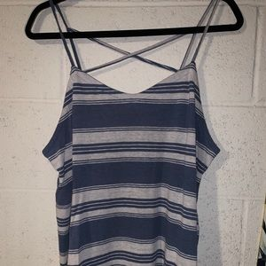 Cross back stripped tank top